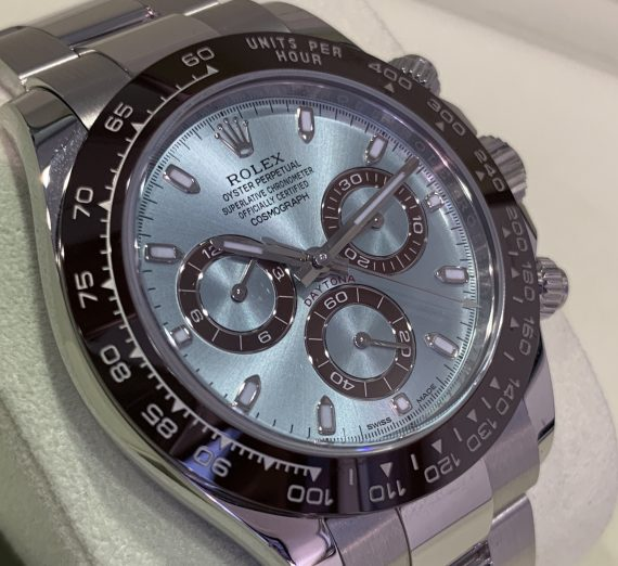 An as new  PLATINUM DAYTONA only 5 months old with the stunning ice blue dial 2