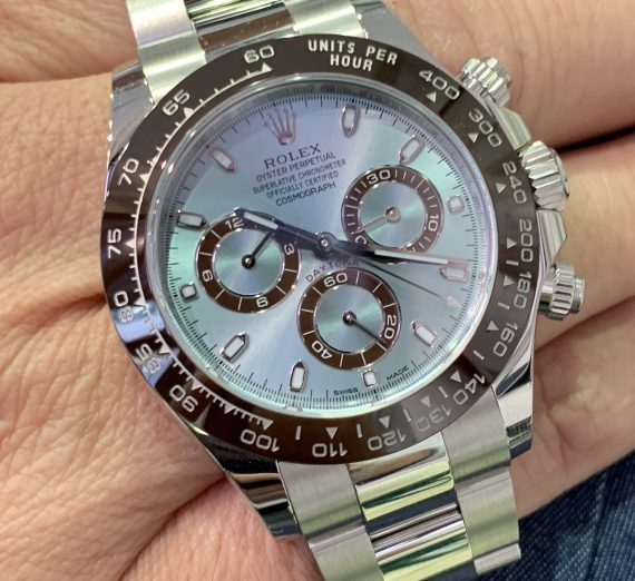 An as new  PLATINUM DAYTONA only 5 months old with the stunning ice blue dial 4