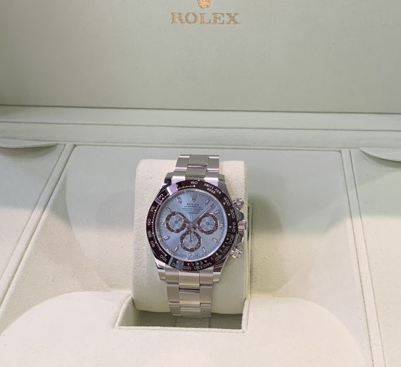 An as new  PLATINUM DAYTONA only 5 months old with the stunning ice blue dial
