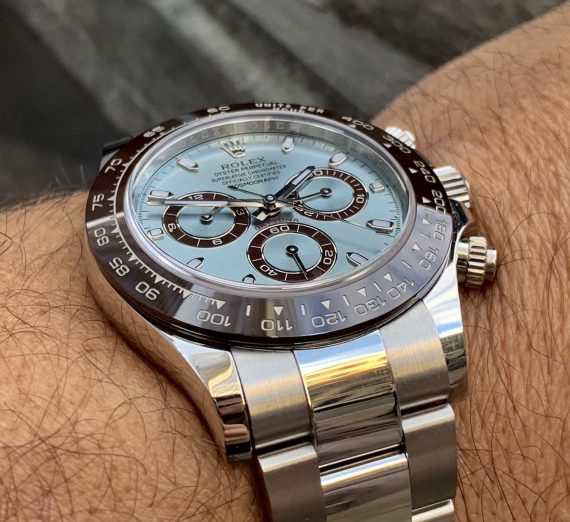 An as new  PLATINUM DAYTONA only 5 months old with the stunning ice blue dial 5