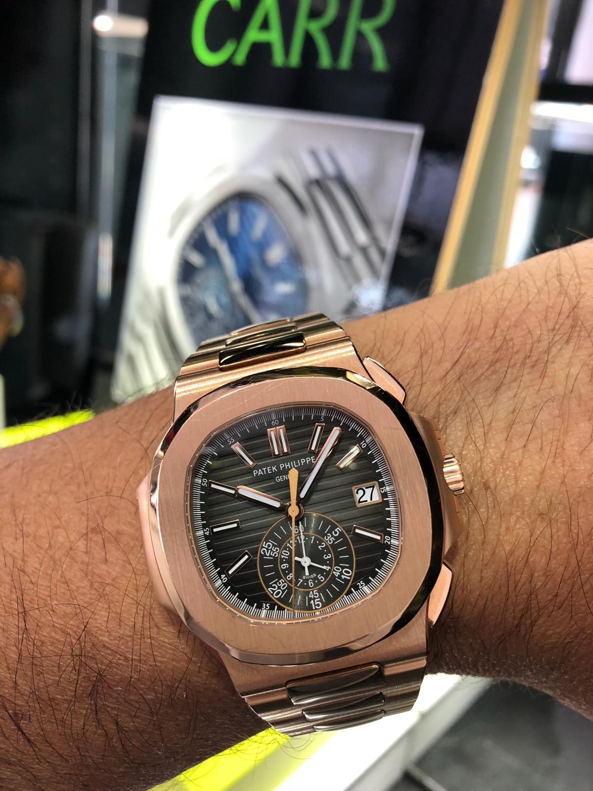 Patek Nautilus Rose Gold Chronograph 5980 1r Carr Watches