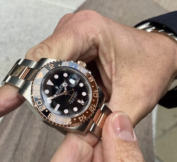 ROLEX GMT II ROOTBEER 18CT ROSE GOLD AND STEEL