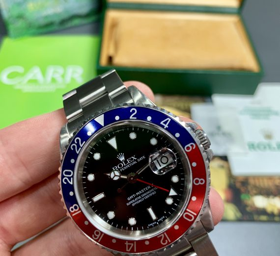 A vintage Rolex GMT with a Pepsi bezel in exceptional condition and complete 17