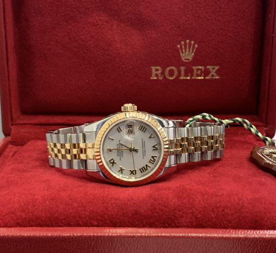 ROLEX LADIES DATEJUST 18ct YELLOW GOLD AND STAINLEES STEEL