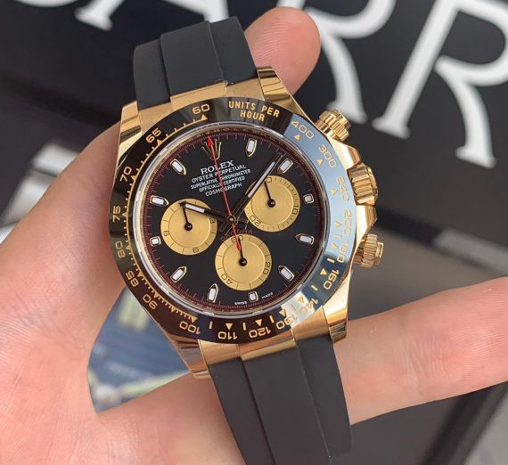ROLEX COSMOGRAPH DAYTONA 18ct YELLOW GOLD BLACK AND CHAMPAGNE COLOUR DIAL 116518LN 10