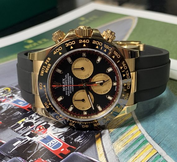 ROLEX COSMOGRAPH DAYTONA 18ct YELLOW GOLD BLACK AND CHAMPAGNE COLOUR DIAL 116518LN 3