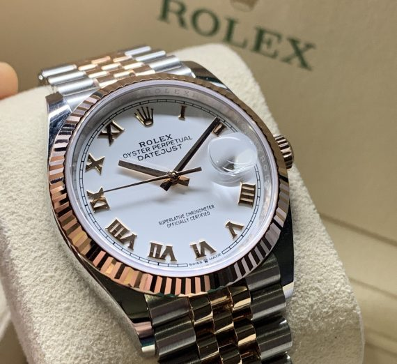 DATEJUST 36MM EVEROSE GOLD & STEEL WHITE ROMAN 2