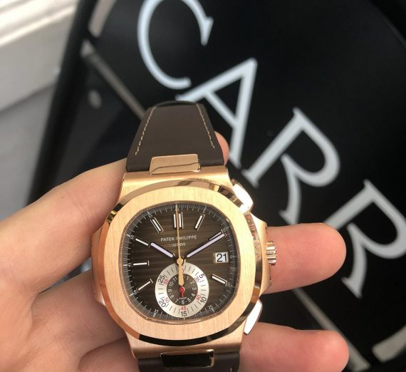 PATEK PHILIPPE 18CT ROSE GOLD NAUTILUS CHRONOGRAPH 5980R-001 5