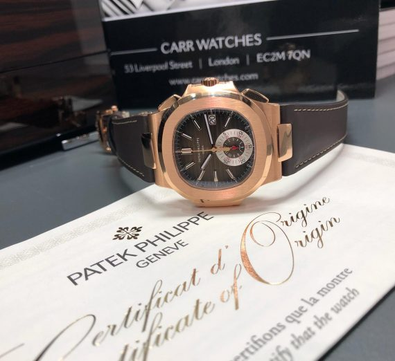 PATEK PHILIPPE 18CT ROSE GOLD NAUTILUS CHRONOGRAPH 5980R-001 8