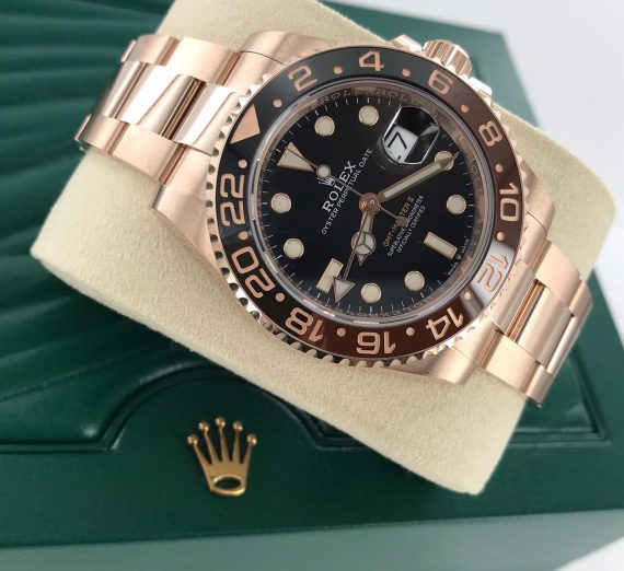ROLEX 18CT ROSE GOLD GMT WITH BROWN AND BLACK BEZEL 10