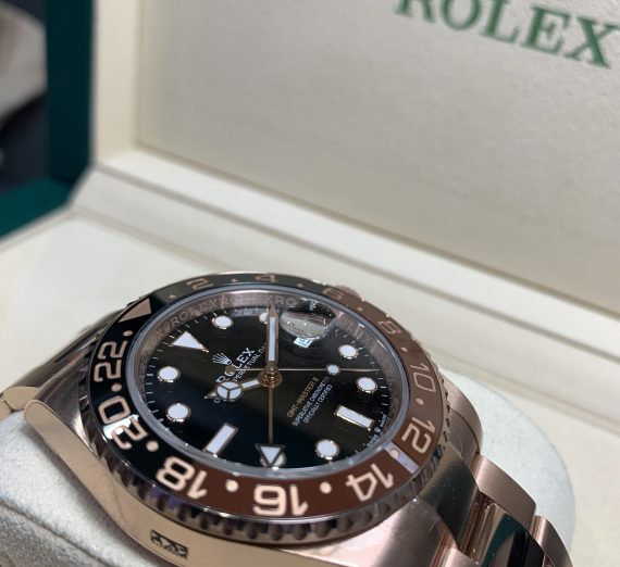 ROLEX 18CT ROSE GOLD GMT WITH BROWN AND BLACK BEZEL 5