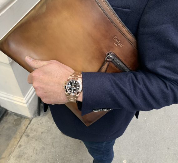 ROLEX 18CT ROSE GOLD GMT WITH BROWN AND BLACK BEZEL 6