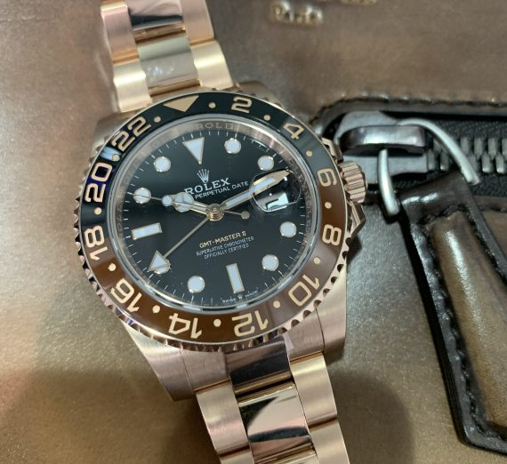 ROLEX 18CT ROSE GOLD GMT WITH BROWN AND BLACK BEZEL 7