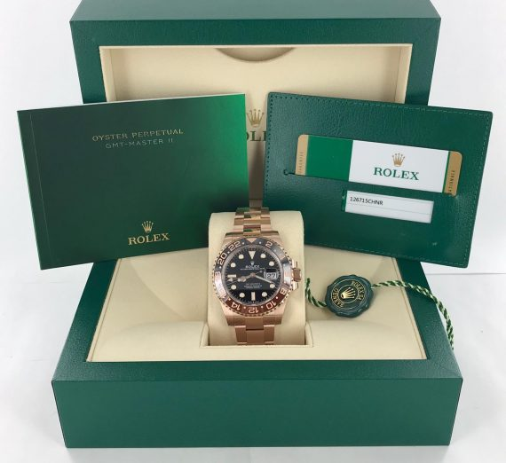 ROLEX 18CT ROSE GOLD GMT WITH BROWN AND BLACK BEZEL 8