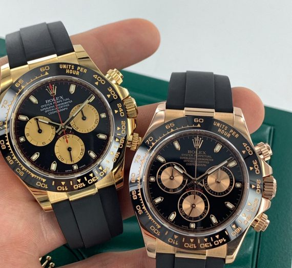 ROLEX COSMOGRAPH DAYTONA 18CT YELLOW GOLD BLACK AND CHAMPAGNE COLOUR DIAL 116518LN 29