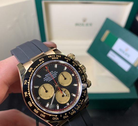 ROLEX COSMOGRAPH DAYTONA 18CT YELLOW GOLD BLACK AND CHAMPAGNE COLOUR DIAL 116518LN 35