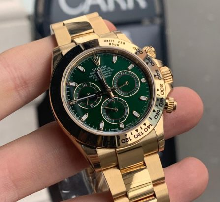 ROLEX DAYTONA YELLOW GOLD GREEN DIAL 116508