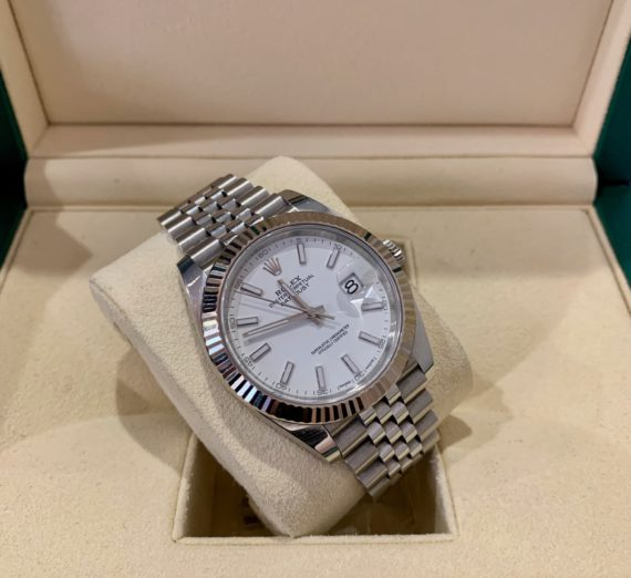 ROLEX 41MM DATEJUST 18CT WHITE GOLD AND STEEL