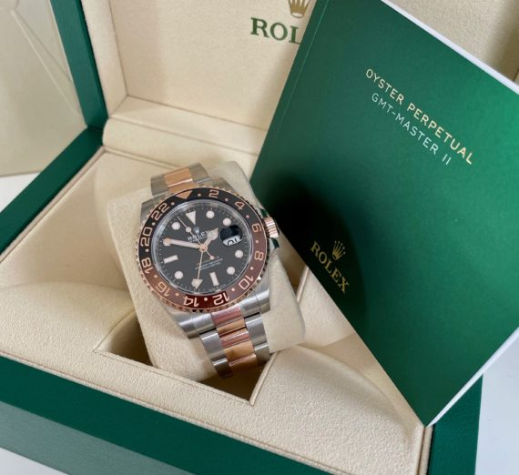 A 2021 ROLEX GMT MASTER  IN 18CT ROSE GOLD AND STEEL 2