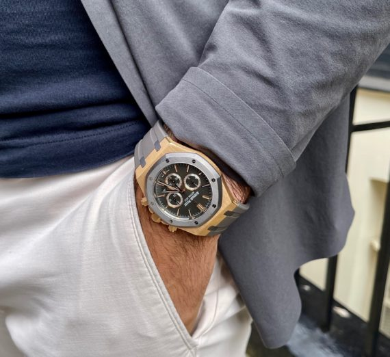A LIMITED EDITION ROSE GOLD AUDEMARS MODEL 26325OL.OO.D005CR.01 16