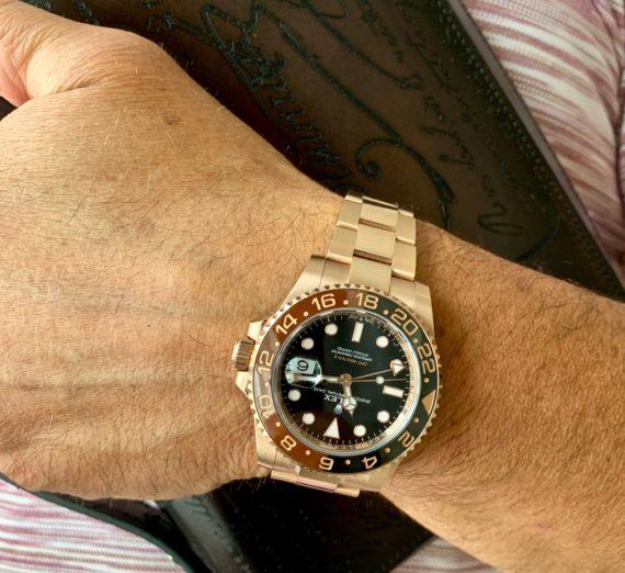 A ROSE GOLD ROLEX GMT MASTER MODEL126715CHNR