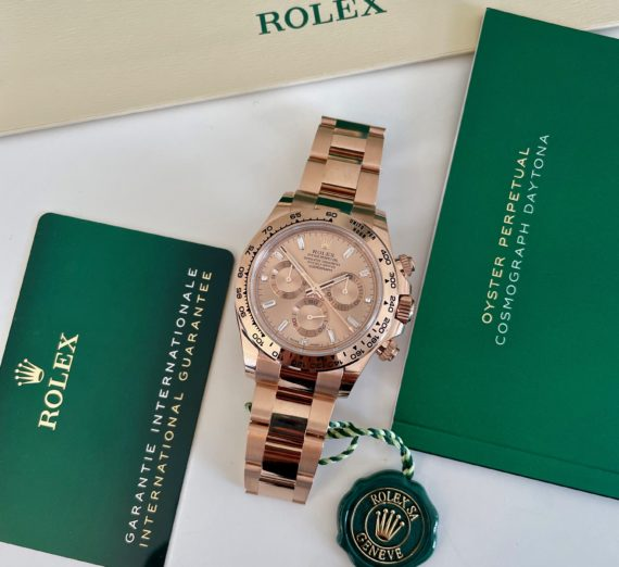 ROLEX DAYTONA IN ROSE GOLD WITH A DIAMOND SET DIAL MODEL 116505 5